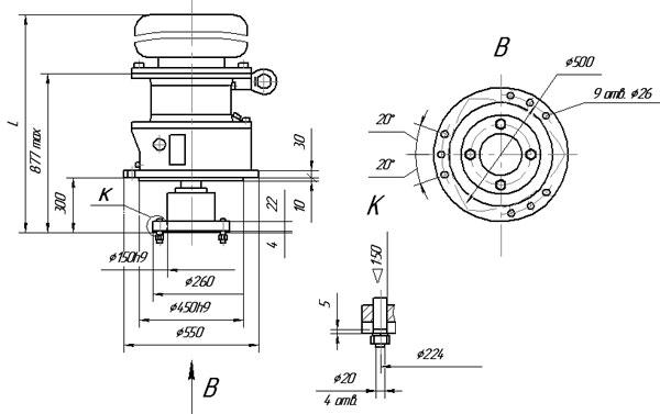 Габаритные и присоединительные размеры мотор-редуктора МР1-500