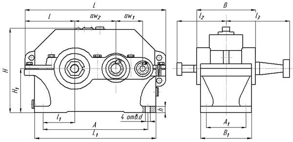 Присоединительные и габаритные размеры редуктора 1Ц2У 125